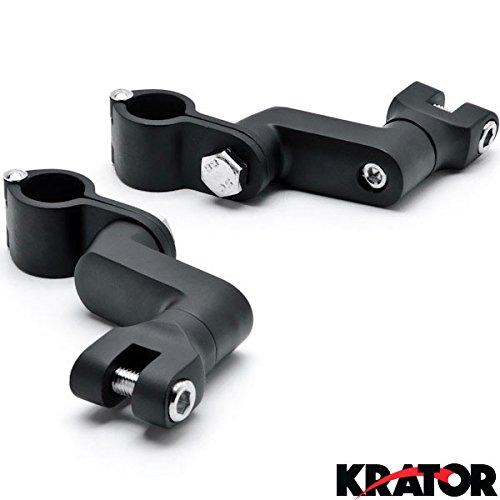 "Krator® Black 1"" Engine Guard Bowleg Foot Peg Clamps For Kawasaki Vulcan Classic Nomad Voyager Vaquero 1700"