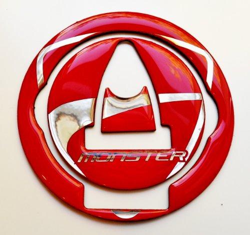 Ducati Monster 696 795 1100 EVO Glossy Red Fuel Tank Cap Filler Cover Pad trim plastic - not cheap vinyl
