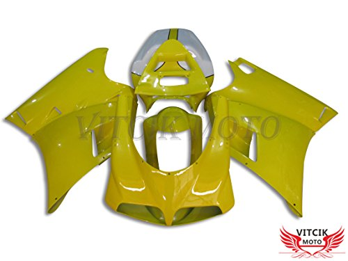 VITCIK Fairing Kits Fit for DUCATI 996 748 916 998 Biposto 1996 1997 1998 1999 2000 2001 2002 Plastic ABS Injection Mold Complete Motorcycle Body Aftermarket Bodywork Frame Yellow White A023