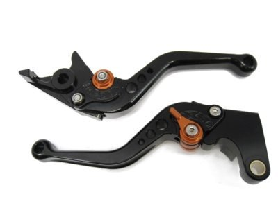 POWTEC PTBO-067 Adjustable short Brake and Clutch Levers for DUCATI GT 1000-BLACK WITH ORANGE