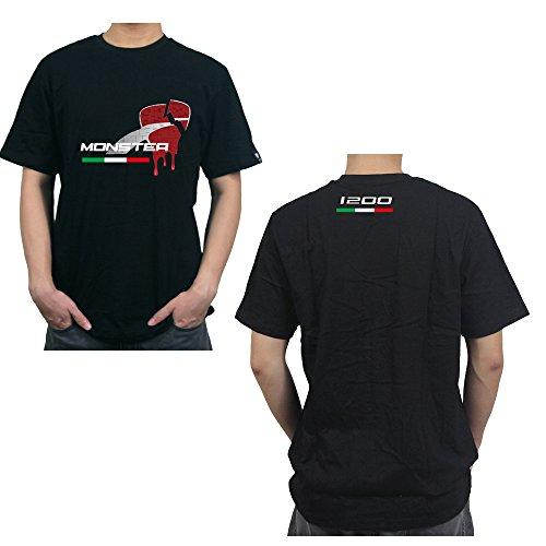 PRO-KODASKIN Motorcycle Style 100 Cotton Casual Short Sleeve O-Neck T Shirt For Ducati Monster 1200 XXL Black