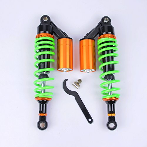 Wotefusi Motorcycle New Pair Green 12 58 320mm Round Ends Shock Absorbers Replacement Universal Fit For Honda Suzuki Kawasaki Yamaha Ducati Scooter ATV Quad Dirt Sport Bike Go Kart