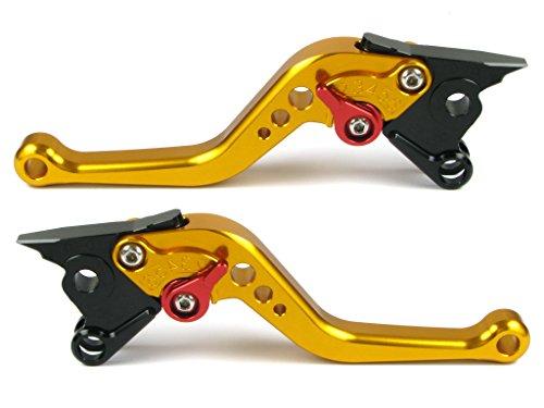 Emotion Performance-STD-Short-Series Motorcycle Clutch Brake Lever Set for Ducati STREETFIGHTER 848 2012-2015 - Red  Gold AdjusterLever