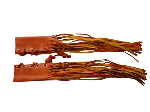 Orange Leather Fringed Motorcycle Handlebar Race Grip Cover