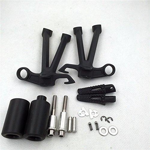 Black Brackets Foot Pegs Footrest Frame Sliders for Suzuki GSXR 1000 2007 2008