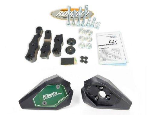 Kawasaki Z1000 2003-2006 RD Moto Crash Frame Sliders Protectors With Full Mounting Kit SL01 BlkGrn