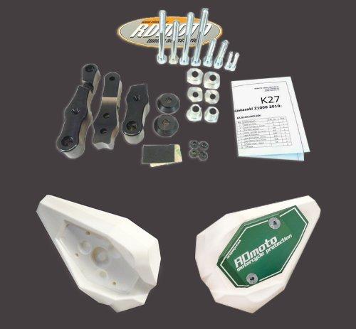 Kawasaki Z1000 2003-2006 RD Moto Crash Frame Sliders Protectors With Full Mounting Kit SL01 WhtGrn