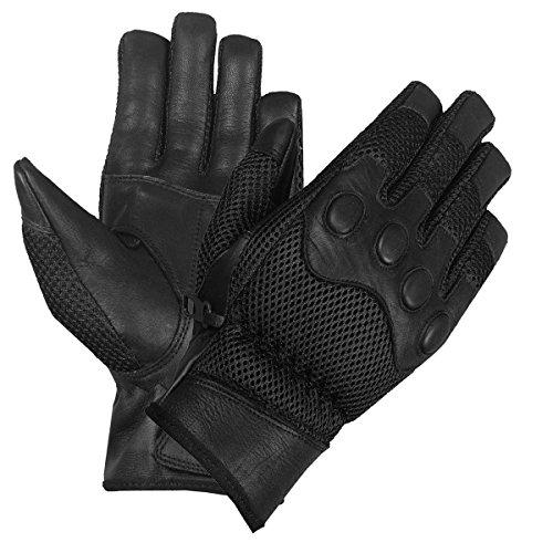 New Biker Mesh Leather Full Motorcycle Gloves Black L