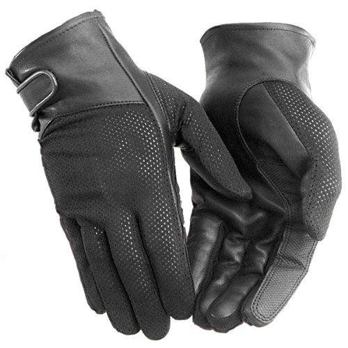 River Road Pecos Women's Leather/mesh Harley Motorcycle Gloves - Black / Medium