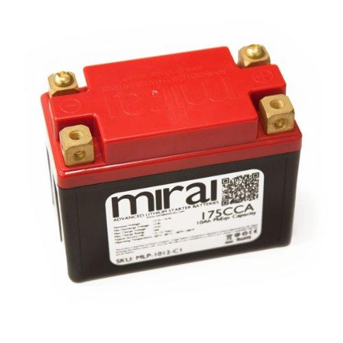 Mirai Ultra Lightweight Lithium Motorcycle Battery 10Ah PbEqv 175CCA MLP-1012-C1