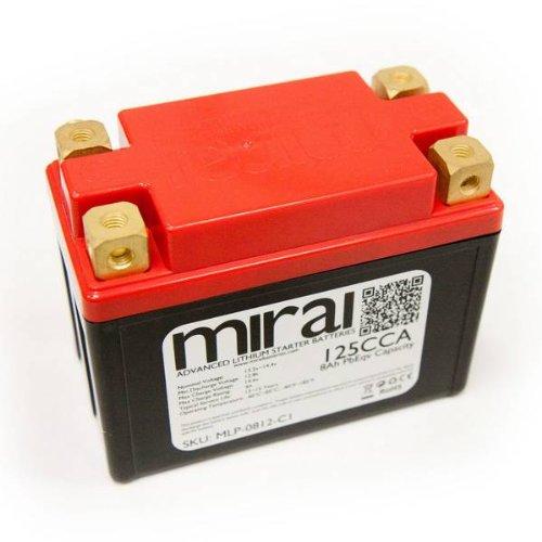Mirai Ultra Lightweight Lithium Motorcycle Battery 8Ah PbEqv 125CCA MLP-0812-C1