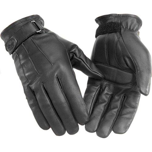 River Road Laredo Men's Leather Cruiser Motorcycle Gloves - Black / Large