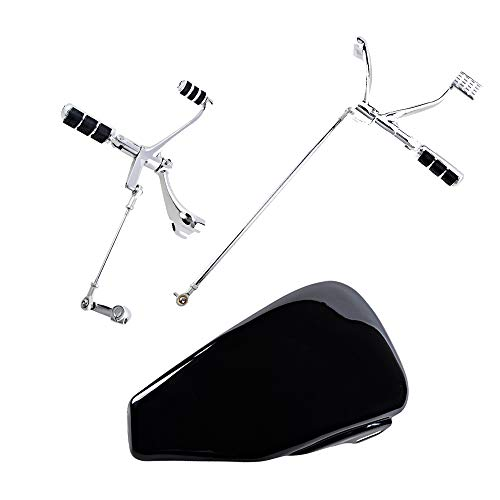 Combo for Harley Sportster 1200 883 Forward Controls Peg Levers Linkage Kit  Black Left Side Battery Cover