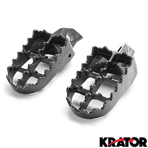 Krator Kawasaki Motocross MX Black Foot Pegs - KX125  KX250  KX500  KDX200  KDX250 1988-2006 Dirtbike Foot Rest Stomper Footpegs