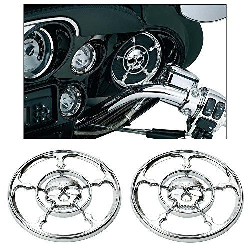 ECLEAR Chrome Speaker Trim Grill Cover For Harley Touring Electra Street Glide 1996-2013 - Skull