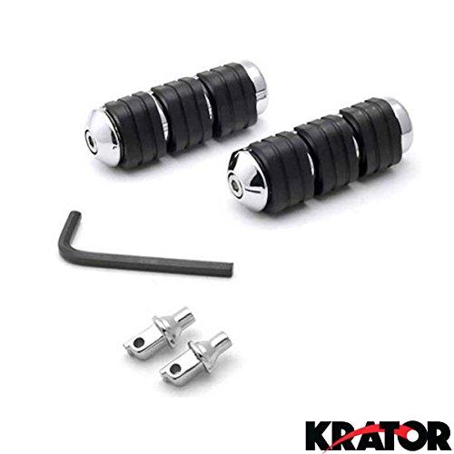 Krator 1995-2008 Suzuki Boulevard S83 Intruder 1400 Marauder 800 Front Foot Pegs Chrome Billet Aluminum Rubber Foot Pegs Front Pegs Left Right Sides