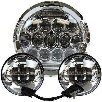 7 Led Projector Daymaker Sunbeam Headlight  45 Passing Lights Set Chrome