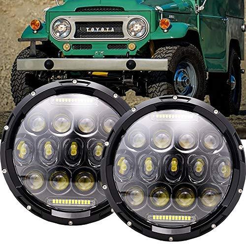 DOT Approved 7 Round Black LED Daymaker Headlights with HiLo Beam Headlamp DRL for Toyota LAND CRUISER FJ40 FJ45 FJ50 FJ55 FJ60 FJ62 FJ70 Pack of 2