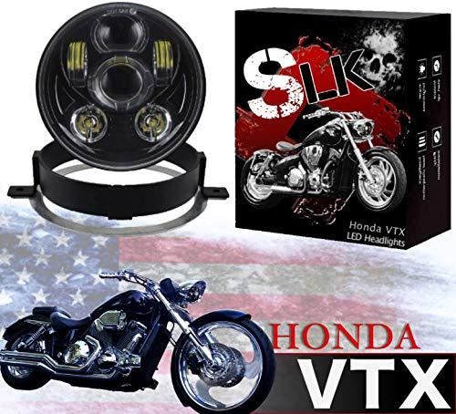 SLK-Customs VTX 5 34 LED Black Daymaker Headlight Kit - Bracket Hardware - Plug Play - Compatible Honda VTX 1300 Honda VTX 1800 non-F models Black