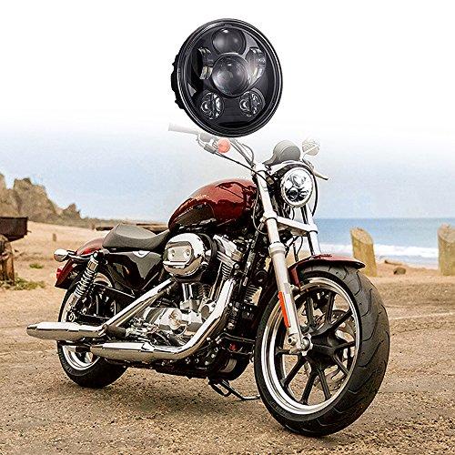 VSEK 5-34 575 Round LED Projection Daymaker Headlight for Harley Davidson Motorcycles Black 9 pcs Bulb