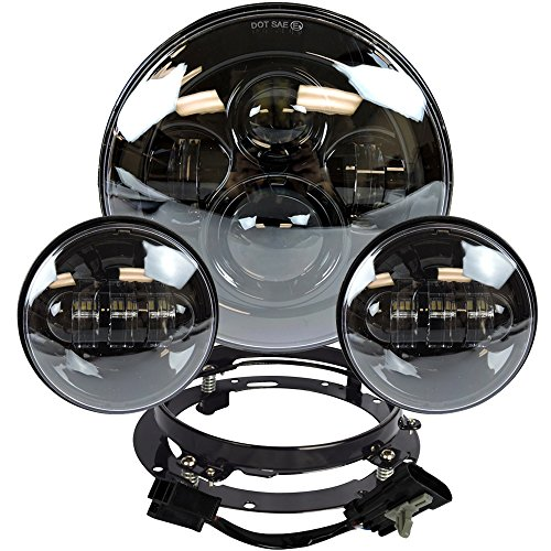 7 Inch Black Harley Daymaker LED Headlight 2 x 4 12 Fog Light Passing Lamps With Adapter Ring for Harley Motorcycle
