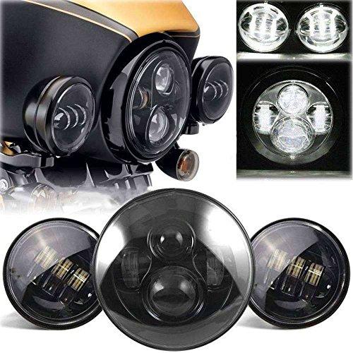 Slendor 7 Inch Black Harley Daymaker LED Headlight w 2Pcs 4-12 Fog Light Passing Lamps for Harley Davidson Motorcycle