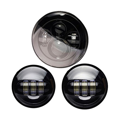 Wisamic 7 LED Projection Daymaker Headlight with 2pcs 4-1245 Fog Lights Passing Lamps for Harley Davidson Motorcycle Black