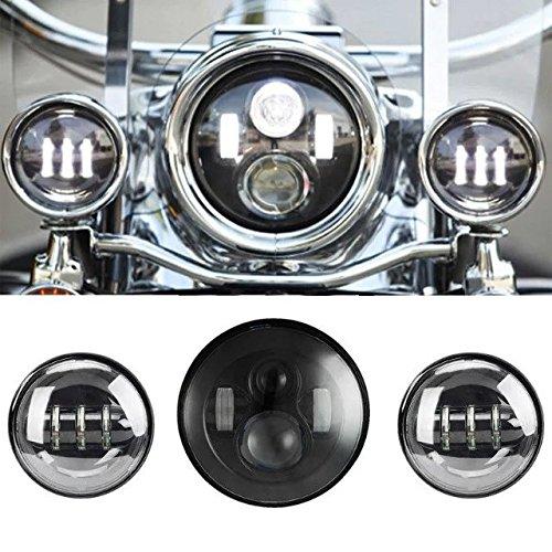 SUNPIE 7 Inch Black Motorcycle Daymaker LED Headlight  2pcs 4-12 Fog Lights for Harley Davidson LED Passing Lights Front Lights Driving Lamp Projecotor