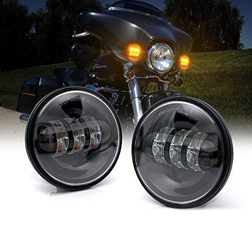 Xprite Black 45 Inch 60W Cree Led Spot Lights 2700k Amber Passing Projector Fog Lamp for Harley Davidson Daymaker Motorcycles