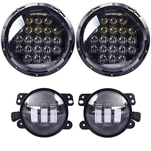 COWONE 130w Philip 5D Lens 7 Daymaker LED Headlights  4Cree LED Fog Lights for Jeep Wrangler 97-2017 JK TJ LJ
