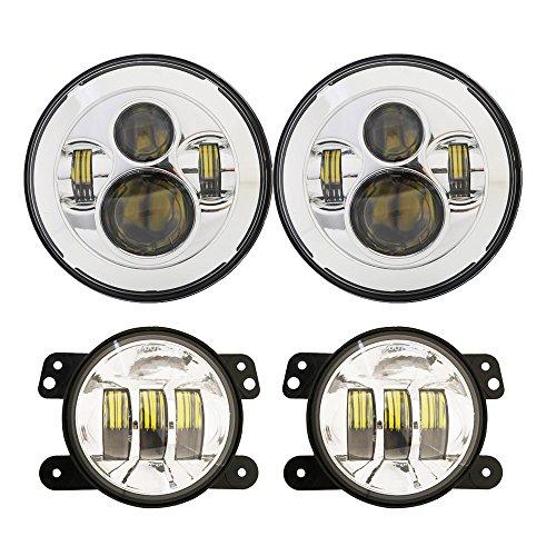 DOT Approved 7inch Jeep Daymaker LED Headlights  4 inch Cree LED Fog Lights for Jeep Wrangler 97-2017 JK TJ LJ -Chrome