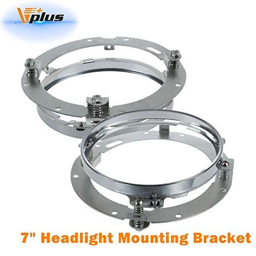 Partsam 7 inch Round Daymaker LED Headlight Mounting Bracket Ring Chrome For 2007-2016 Jeep Wrangler TJ JK Limited 24dr2pcs