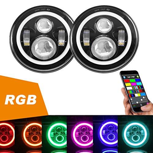 7 LED Headlights Bulb RGB Halo Angel Eye with Bluetooth Remote for 1997~2017 Jeep Wrangler JK LJ CJ Sahara Sport Rubicon Hummer H1 H2 Headlamp Driving Light DRL