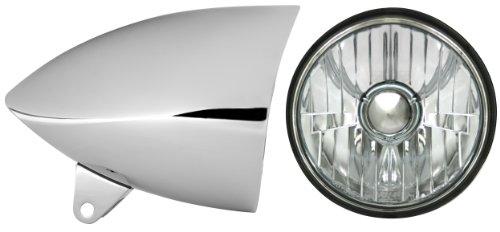 Adjure HB51211-1 5-34 Smooth Chrome Sunset Boulevard Style Sleek Motorcycle Headlight Bucket Combo with Diamond Cut Ice Headlamp Part No T50100