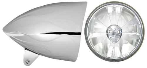 Adjure HB54211-7SR 5-34 Flamed Chrome Sunset Boulevard Style Motorcycle Headlight Bucket with Pie Cut Skull Headlamp and H4 Bulb Part No T50700-SR