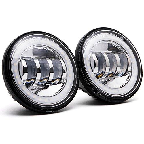 Krator Black 2x 45 LED Spot Fog Passing Light Angel DRL for Harley Davidson Fat Bob FXDF 2008 2010-2016