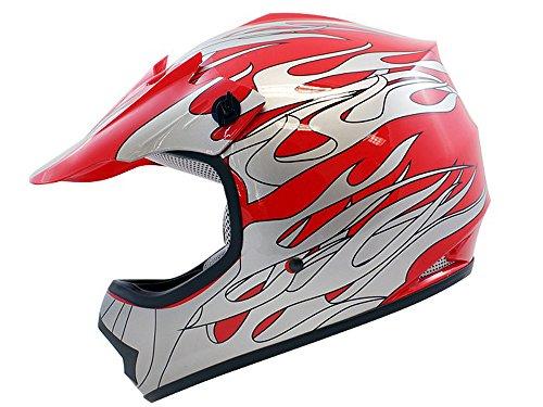 TMS Youth Kids Red Flame ATV Motocross Dirt Bike Off-Road MX Gear Helmet DOT Large