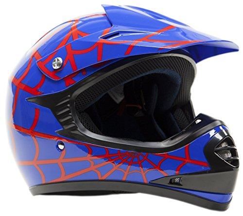 Youth Kids Offroad Helmet DOT Motocross ATV Dirt Bike MX Motorcycle - Red Blue Spiderman - XL