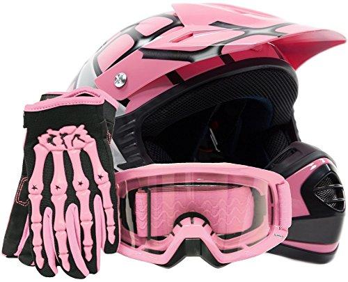 Youth Offroad Gear Combo Helmet Gloves Goggles DOT Motocross ATV Dirt Bike Spiderman Pink  Large