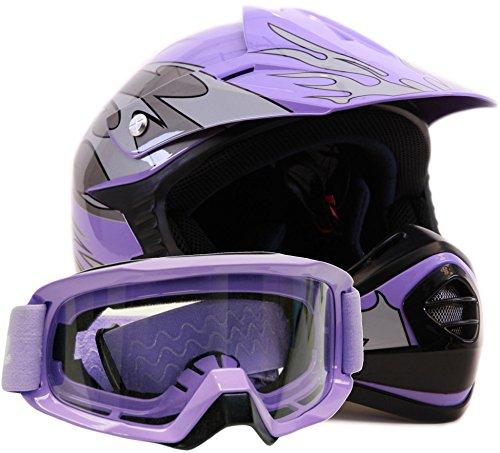 Youth Offroad Gear Combo Helmet Goggles DOT Motocross ATV Dirt Bike MX Motorcycle Purple - XL