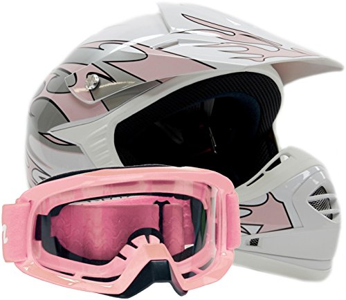 Youth Offroad Gear Combo Helmet & Goggles Dot Motocross Atv Dirt Bike Mx Motorcycle Pink - Large