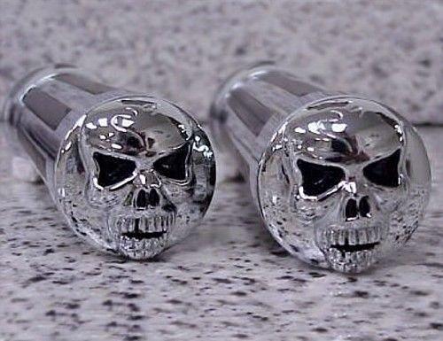 i5 Chrome Skull Hand Grips for Harley Davidson