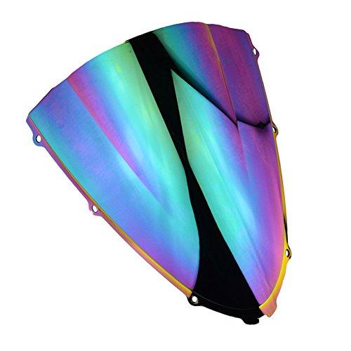 3 Color Motorcycle Windshield Screen Panel Cowl Fairing Windshield WindScreen Double Bubble For Kawasaki Ninja ZX14ZX14R 2006-2016 2007 2008 2009 2010 2011 2012 2013 2014 2015 Iridium