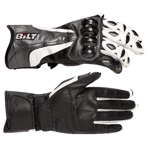 Bilt Trackstar Leather Motorcycle Gloves - Lg, Black/white/gunmetal