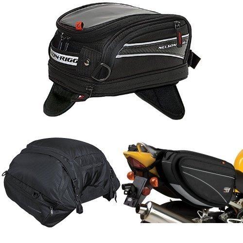 Nelson-Rigg CL-2014-MG Black Magnetic Mount Journey Mini Tank Bag  CL-3000 Black Highway Cargo Pack  and  CL-950 Black Deluxe Sport Touring Saddle Bag Bundle