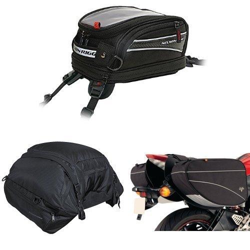 Nelson-Rigg CL-2014-ST Black Strap Mount Journey Mini Tank Bag  CL-3000 Black Highway Cargo Pack  and  CL-905 Black Sport Touring Saddle Bag Bundle