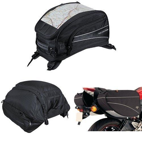 Nelson-Rigg CL-2015-ST Black Strap Mount Journey Sport Tank Bag  CL-3000 Black Highway Cargo Pack  and  CL-905 Black Sport Touring Saddle Bag Bundle