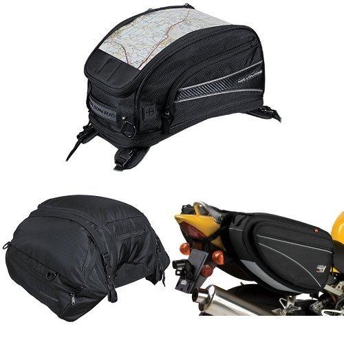 Nelson-Rigg CL-2015-ST Black Strap Mount Journey Sport Tank Bag  CL-3000 Black Highway Cargo Pack  and  CL-950 Black Deluxe Sport Touring Saddle Bag Bundle