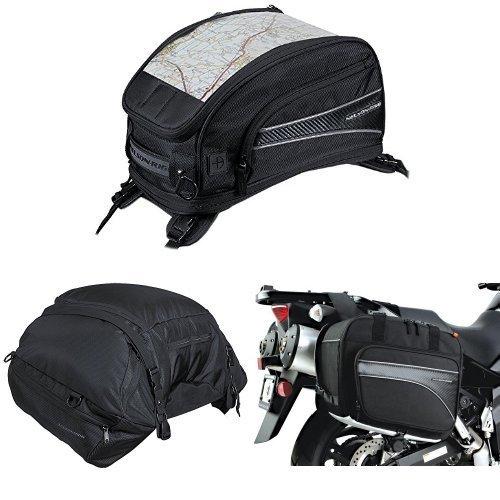 Nelson-Rigg CL-2015-ST Black Strap Mount Journey Sport Tank Bag  CL-3000 Black Highway Cargo Pack  and  CL-855 Black Touring Adventure Saddlebag Bundle