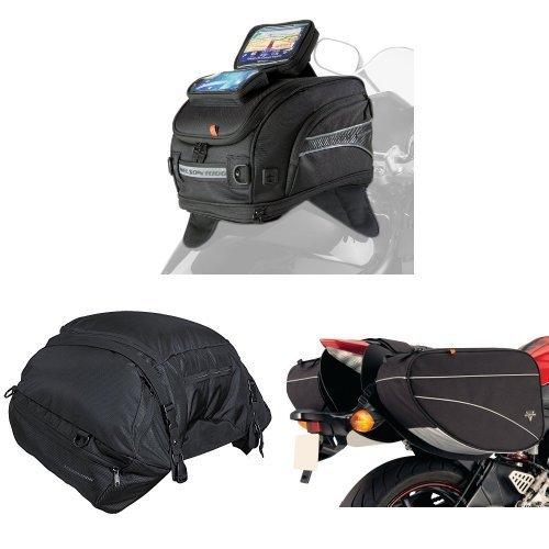 Nelson-Rigg CL-2020-MG Magnetic Mount Tank Bag  CL-3000 Black Highway Cargo Pack  and  CL-905 Black Sport Touring Saddle Bag Bundle